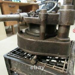 Antique Toledo No 2 Pipe Threader Threading Tool Machine with 4 Collars & Die Sets