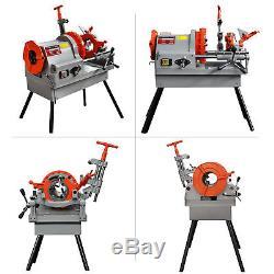 Electric Pipe Threader Machine (1/2 4) Threading Cutter, Deburrer NPT P100