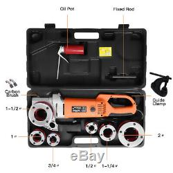 Portable Electric Pipe Threader with 6 Dies Threading Machine 1/2 to 2