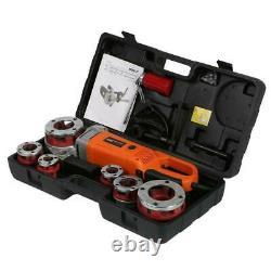 Portable Handheld 220V Electric Pipe Threader With6 Dies Threading Machine EU plug