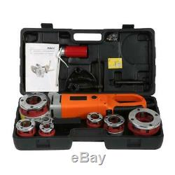 Portable Handheld Electric Pipe Threader Threading Machine With 6 Dies 110V