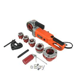 Portable Handheld Electric Pipe Threader With 6 Dies 2300W Threading Machine