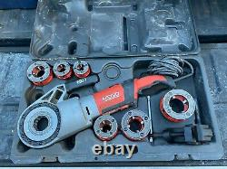 RIDGID 690-I HAND HELD POWER THREADING MACHINE with 1/2 2 DIES AND SUPPORT ARM