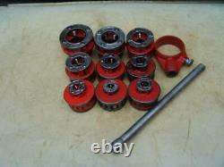 Ridgid 12-R Die Set Pipe Threader Treading Machine 1/8 to 2 inch Great Shape #21