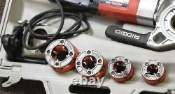 Ridgid 600 Portable Power 15 amp PIPE THREADER with 4 Dies & Case
