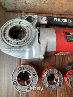 Rridgid 600 Hand Held Pipe Threading Machine With 3 Dies Great Price
