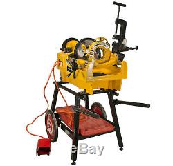 Steel Dragon Tools 1224 Pipe Threading Machine 26092 and 150A Cart 1/2-4