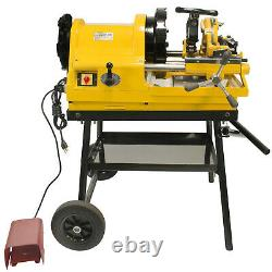 Steel Dragon Tools 6790 1/2 4 Pipe Threader Threading Machine with Cart